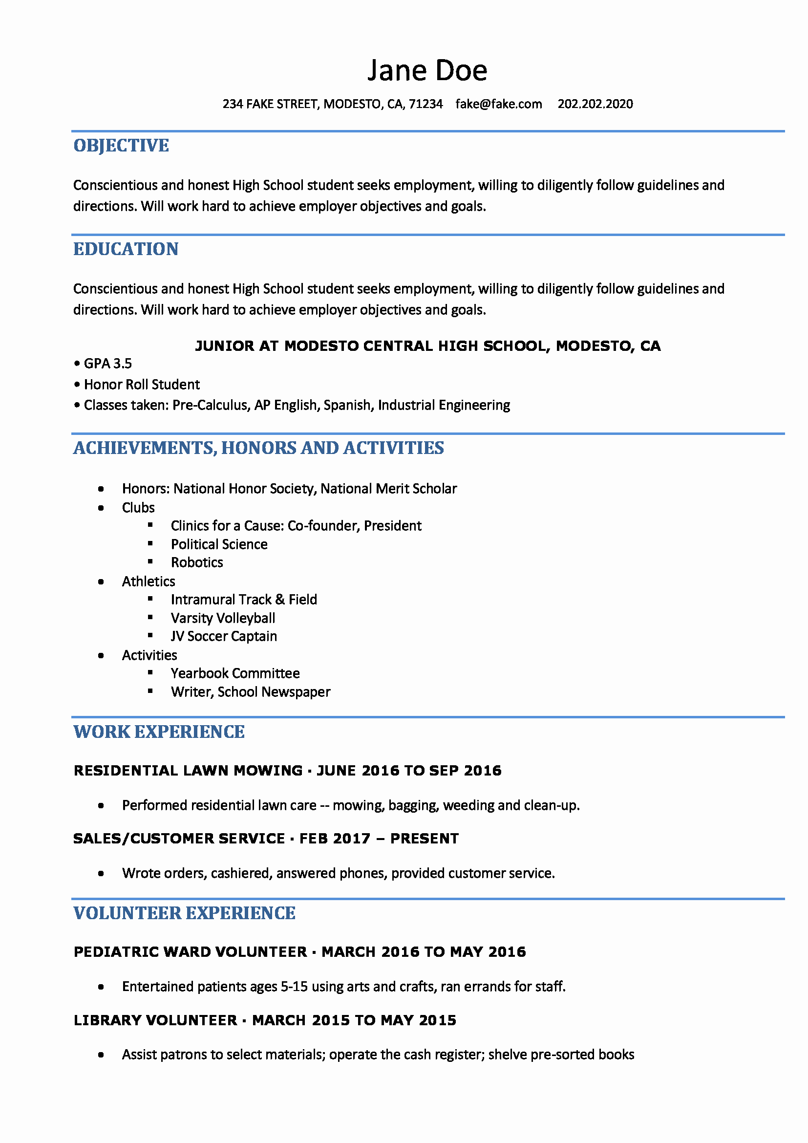 Resume Templates for College Students Awesome High School Resume Resumes Perfect for High School Students