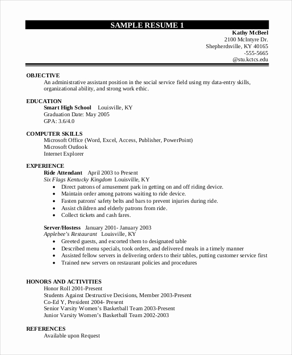 Resume Templates for College Students Beautiful 10 Sample Resume for College Students