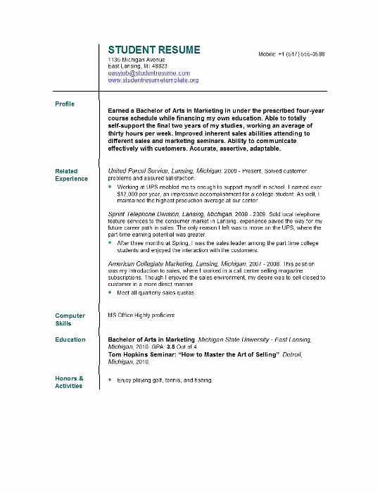 Resume Templates for College Students Inspirational Student Resume Templates