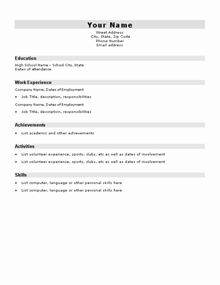 Resume Templates for College Students Lovely High School Student Resume Sample