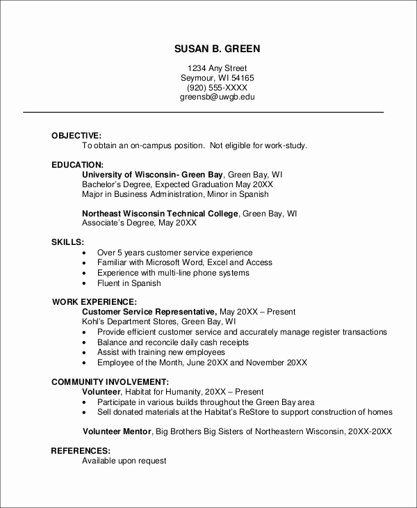 Resume Templates for College Students Luxury 8 Sample Job Resumes