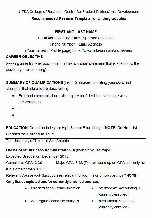 Resume Templates for College Students New 24 Best Student Sample Resume Templates Wisestep