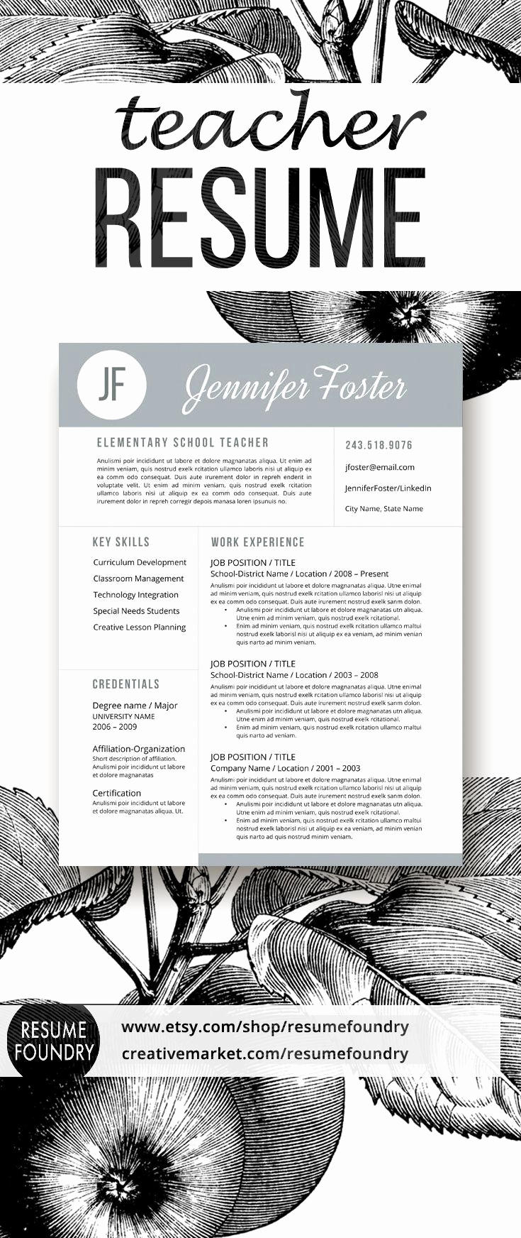 Resume Templates for Teachers Beautiful Best 25 Teacher Resume Template Ideas On Pinterest