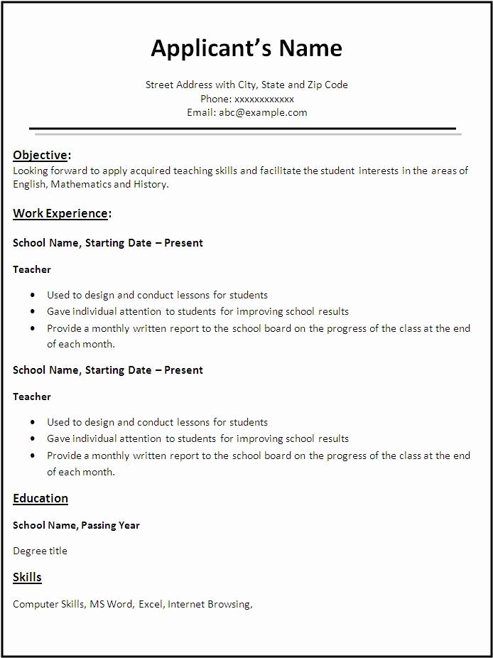 Resume Templates for Teachers Fresh Teacher Resume Example