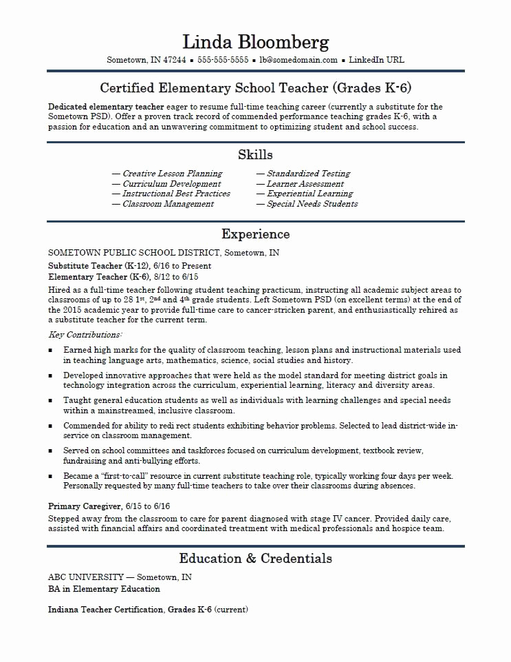 Resume Templates for Teachers New Elementary School Teacher Resume Template