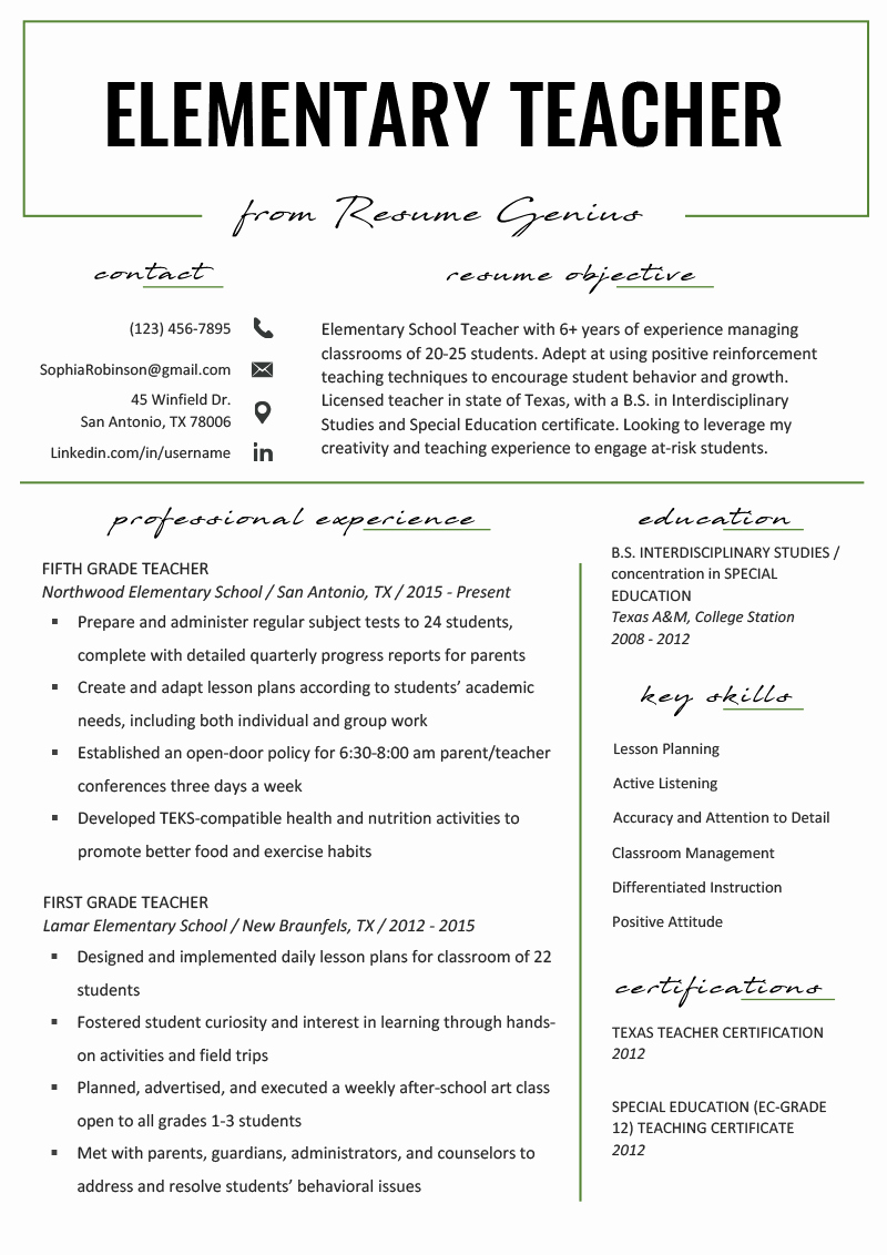 Resume Templates for Teachers New Elementary Teacher Resume Samples & Writing Guide