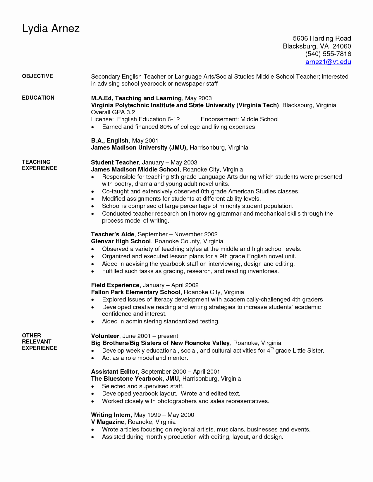 Resume Templates for Teachers Unique Art Teacher Resume Examples