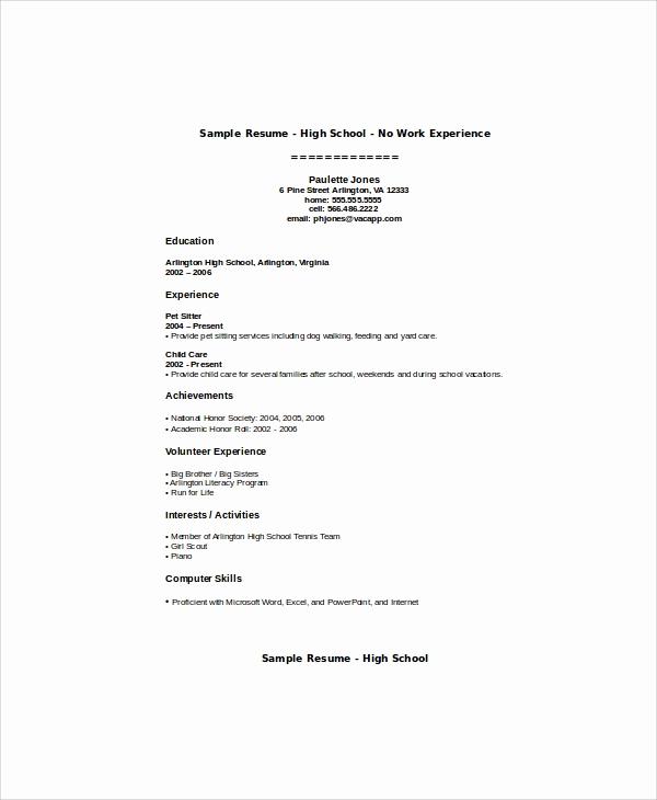 Resume Templates for Teens Fresh 5 Sample Teenage Resumes