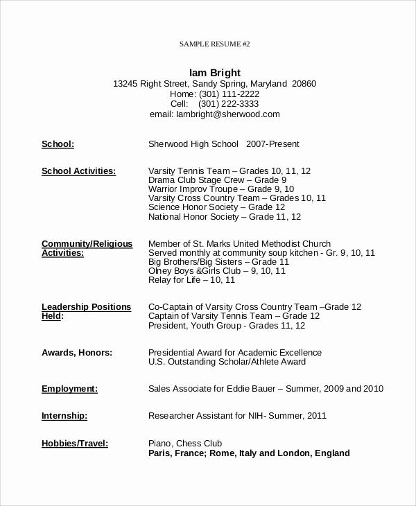 Resume Templates for Teens Luxury Usyhnews
