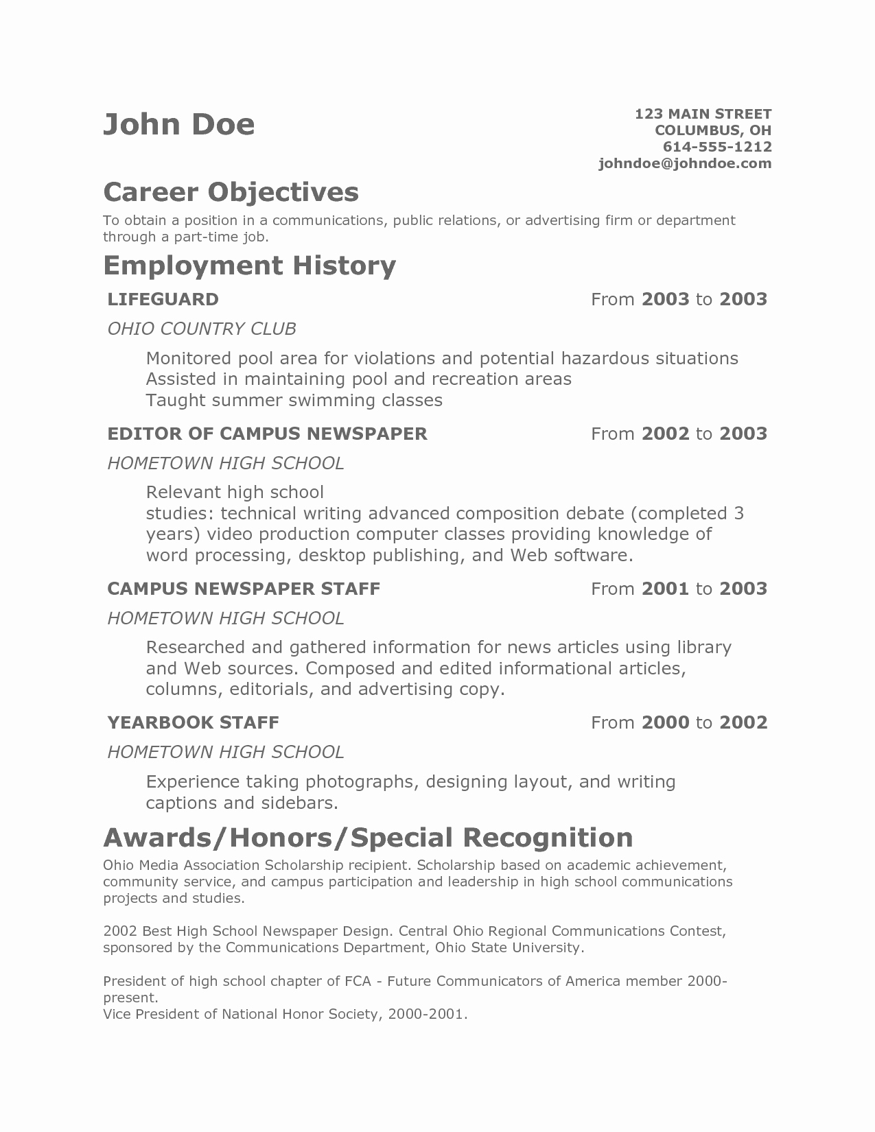 Resume Templates for Teens Unique Teenage Resume Template