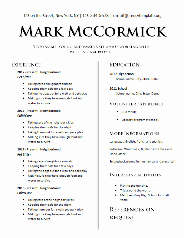 Resume Templates for Teens Unique Teens with No Experience – Free Cv Template Dot org