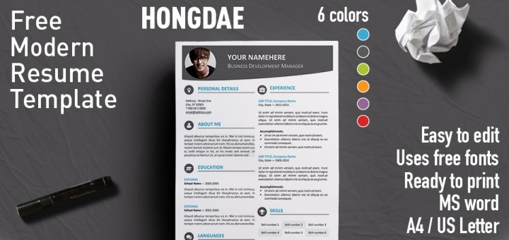 Resume Templates Free Word Awesome Hongdae Modern Resume Template