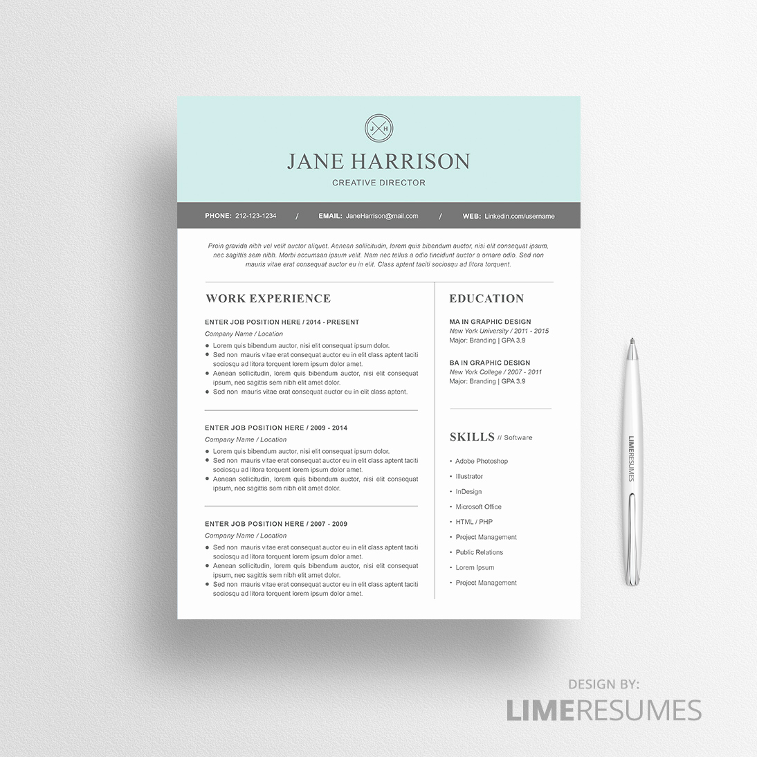 Resume Templates Free Word Elegant Modern Resume Template for Microsoft Word Limeresumes
