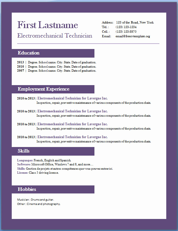 Resume Templates Free Word Unique Free Cv Templates 29 to 35 – Free Cv Template Dot org