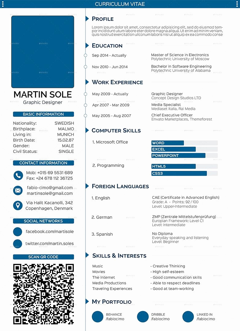 Resume with Picture Template Fresh Cv Templates 61 Free Samples Examples format Free