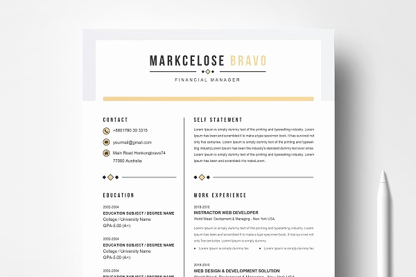 Resume with Picture Template Inspirational Resume Templates Creative Market