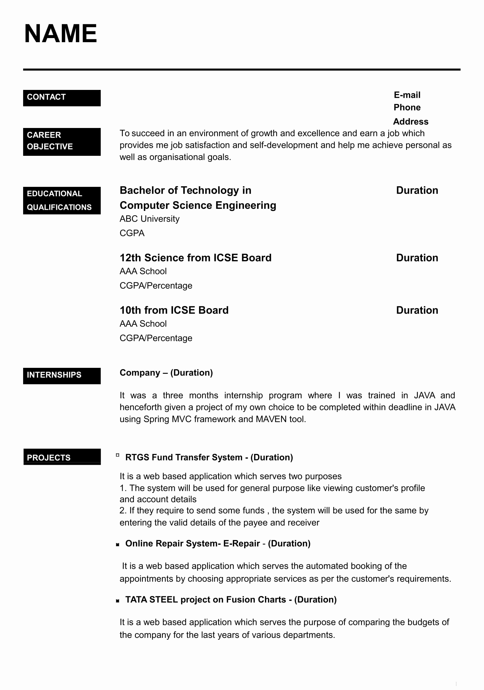 Resume with Picture Template Unique 32 Resume Templates for Freshers Download Free Word format