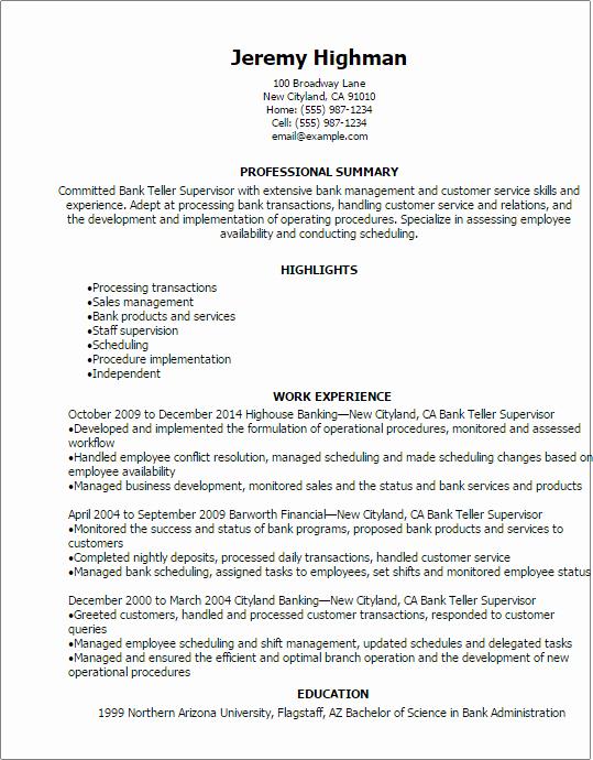 Resumes for Bank Teller Awesome Bank Teller Supervisor Resume Template — Best Design