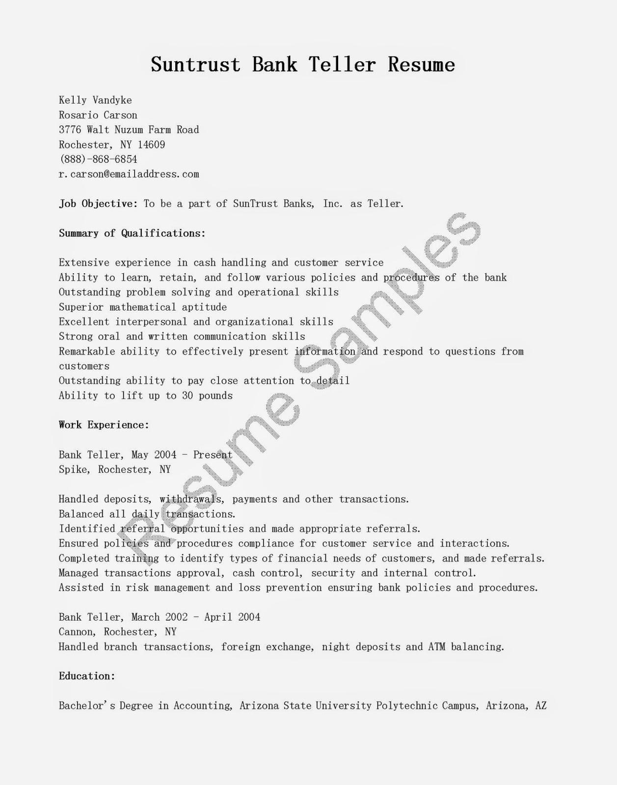 Resumes for Bank Teller Best Of Resume Samples Suntrust Bank Teller Resume
