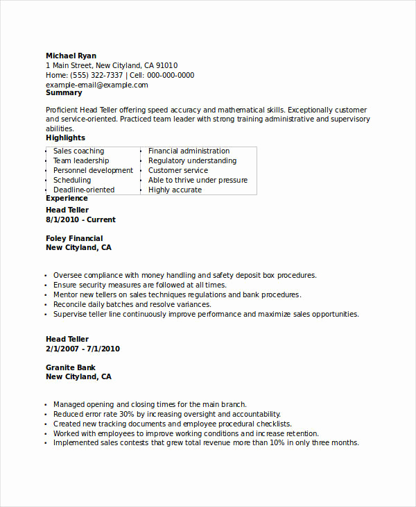 Resumes for Bank Teller Fresh Banking Resume Samples 45 Free Word Pdf Documents