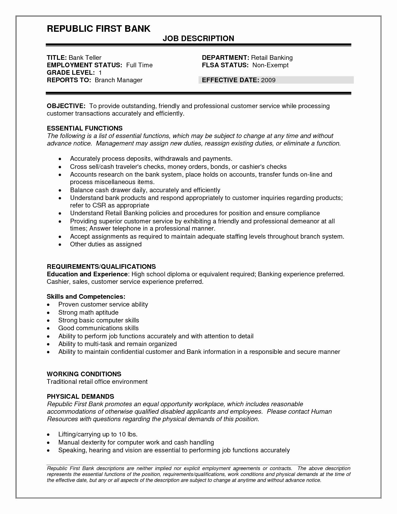 Resumes for Bank Teller Inspirational Bank Teller Job Description Resume Sample
