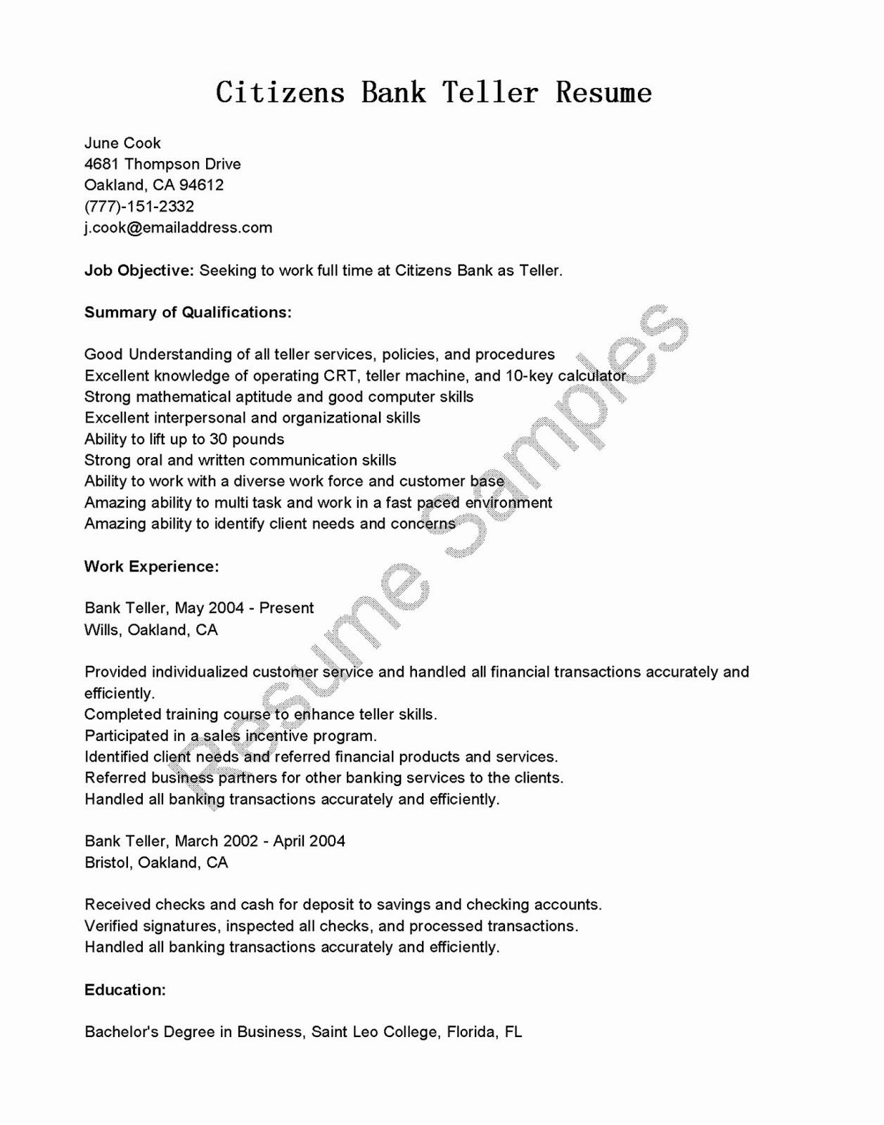 Resumes for Bank Teller Lovely Resume Samples Citizens Bank Teller Resume Sample