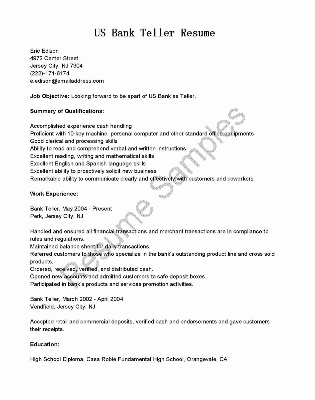 Resumes for Bank Teller Luxury Resume Samples Us Bank Teller Resume Sample