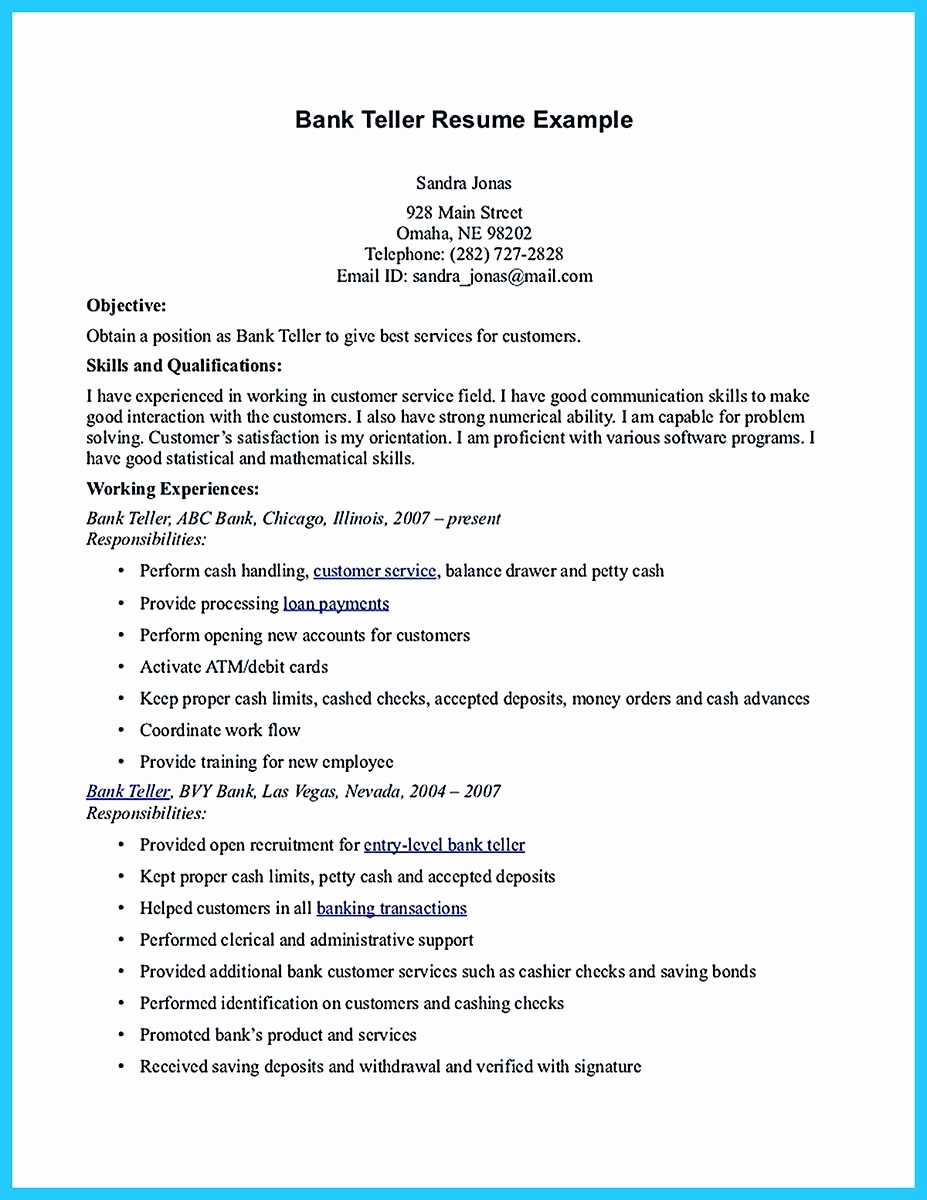 Resumes for Bank Teller New E Of Re Mended Banking Resume Examples to Learn
