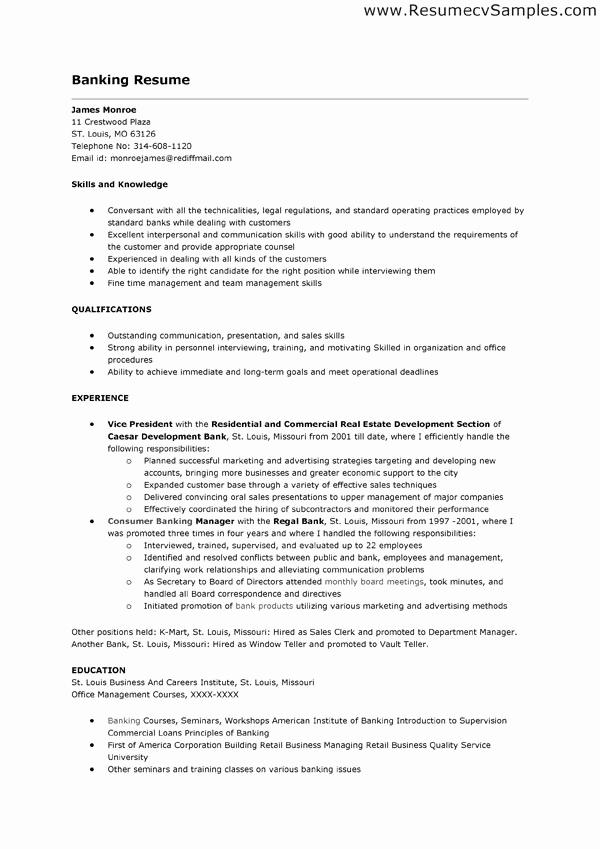 Resumes for Bank Teller Unique Bank Teller Job Description for Resume
