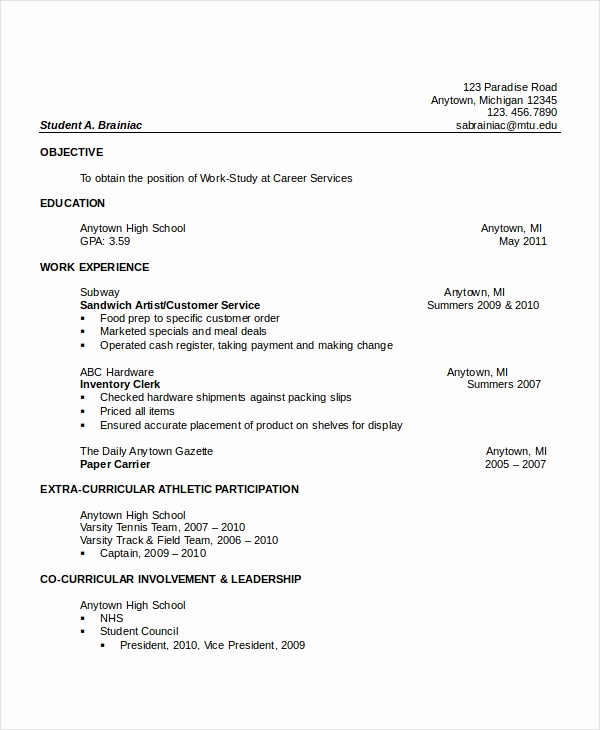 Resumes for High School Graduate Best Of 10 High School Resume Templates Examples Samples format