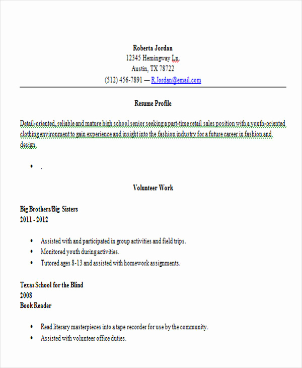 Resumes for High School Graduate Best Of 14 First Resume Templates Pdf Doc