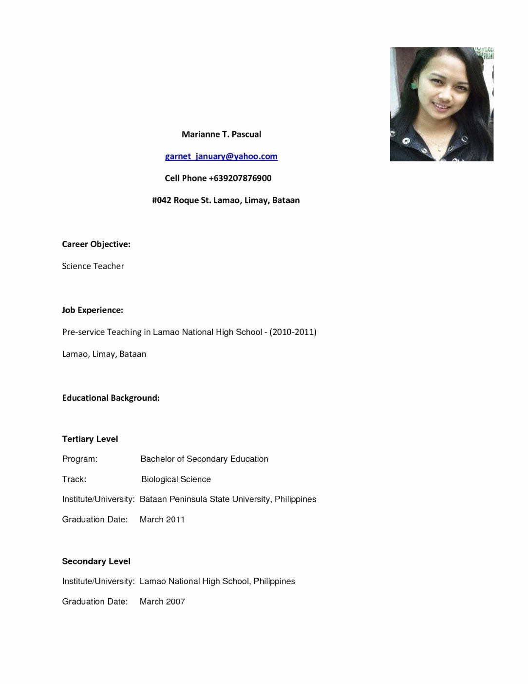 Resumes for High School Graduate Elegant Best Example Resume In the Philipines High School