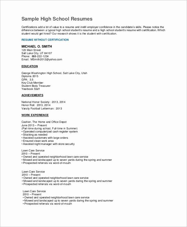 Resumes for High School Graduate Inspirational 7 High School Resume Samples