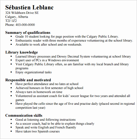 Resumes for High School Students Beautiful 10 High School Resume Templates – Free Samples Examples
