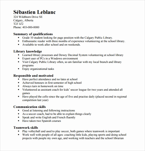 Resumes for High School Students Beautiful Sample High School Resume Template 6 Free Documents In