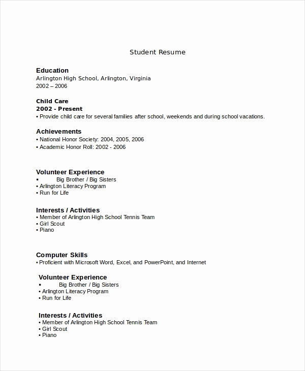 Resumes for High School Students Best Of 10 High School Resume Templates Examples Samples format