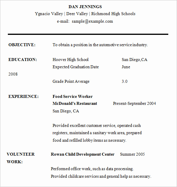Resumes for High School Students Best Of 10 High School Resume Templates – Free Samples Examples