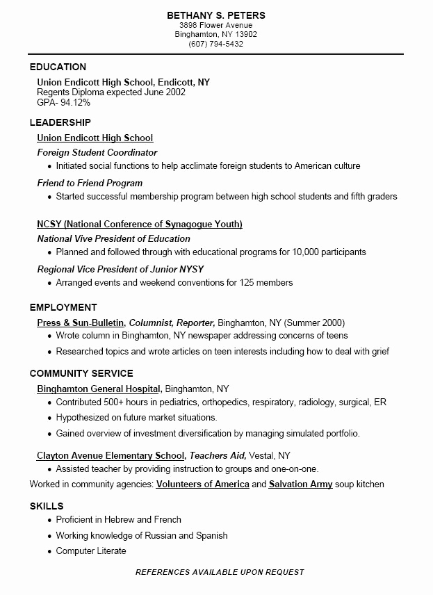 Resumes for High School Students Fresh 1000 Ideas About High School Resume Template On Pinterest