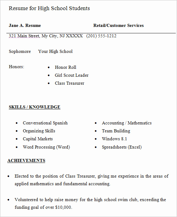 Resumes for High School Students Inspirational 10 High School Resume Templates – Free Samples Examples