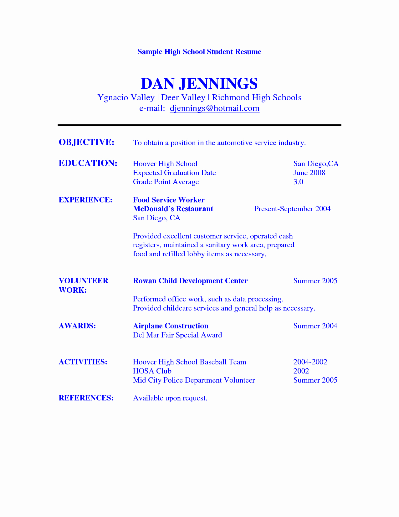 Resumes for High School Students Lovely Sample Resume Objective for College Student