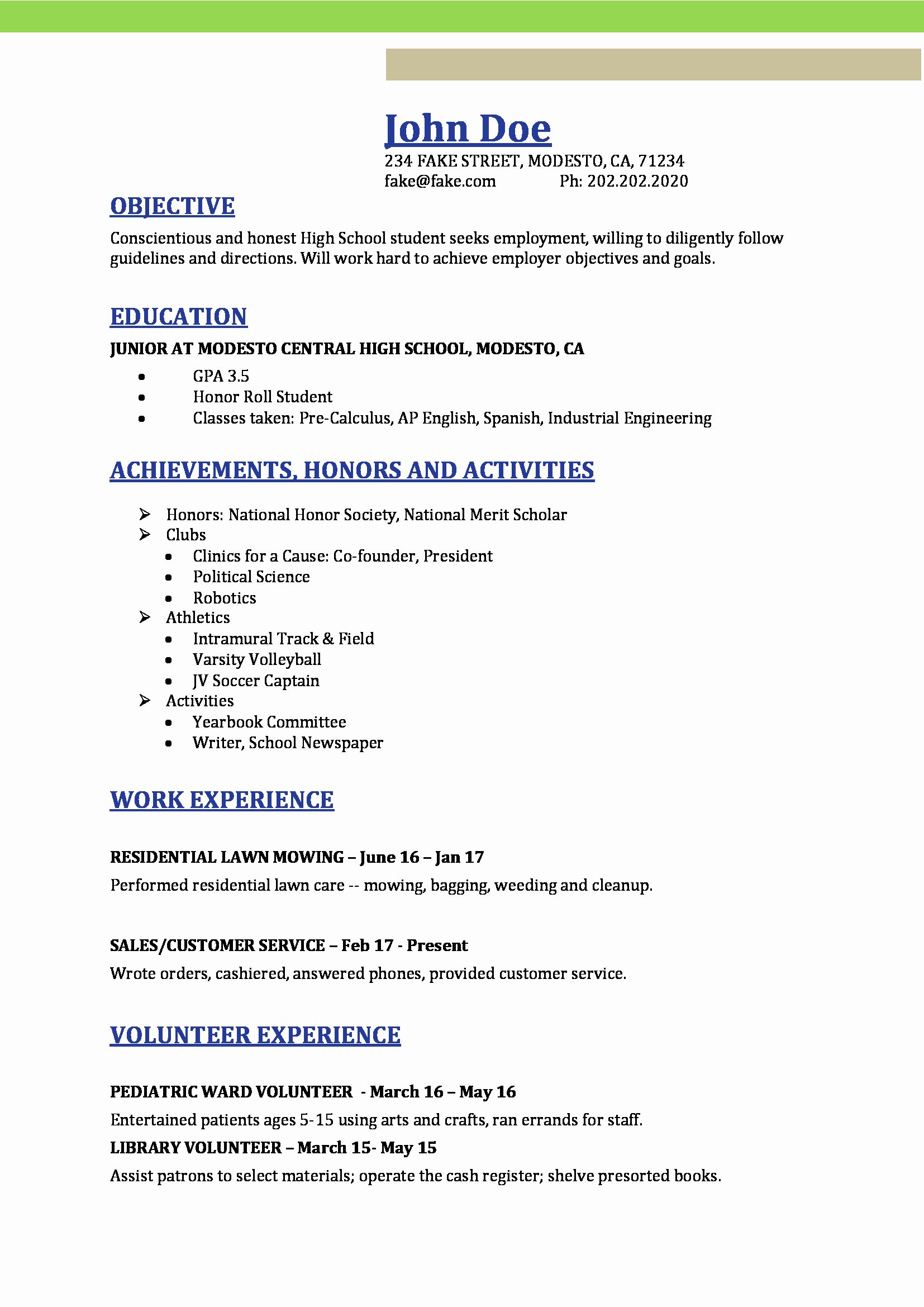 Resumes for High School Students Luxury High School Resume Resumes Perfect for High School Students