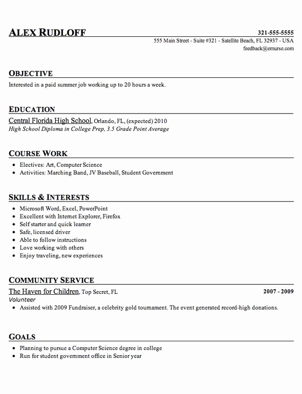 Resumes for High School Students Unique High School Student Resume Template Tips 2018