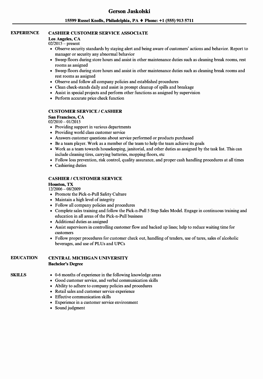 Retail Customer Service Resume Awesome Customer Service Cashier Resume Samples