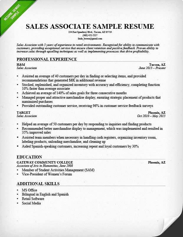 Retail Customer Service Resume Awesome Retail Sales associate Resume Sample & Writing Guide