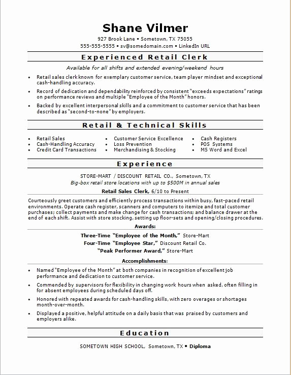 Retail Customer Service Resume Awesome Retail Sales Clerk Resume Sample