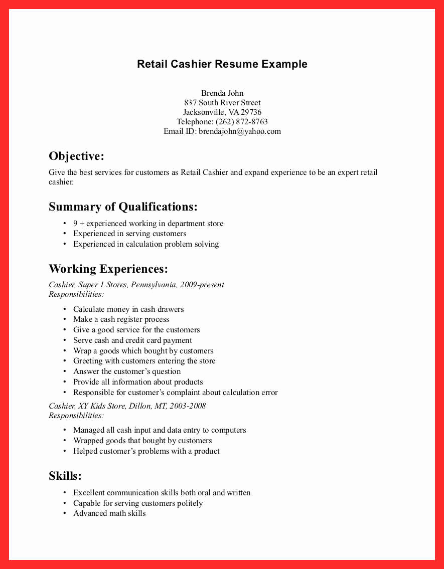 Retail Customer Service Resume Beautiful Resume Retail Skills