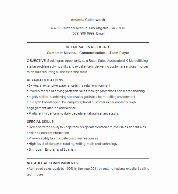 Retail Customer Service Resume Fresh 9 Retail Resume Templates Doc Pdf