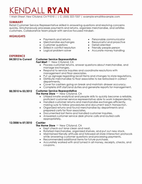 Retail Customer Service Resume Lovely Best Retail Customer Service Representative Resume Example