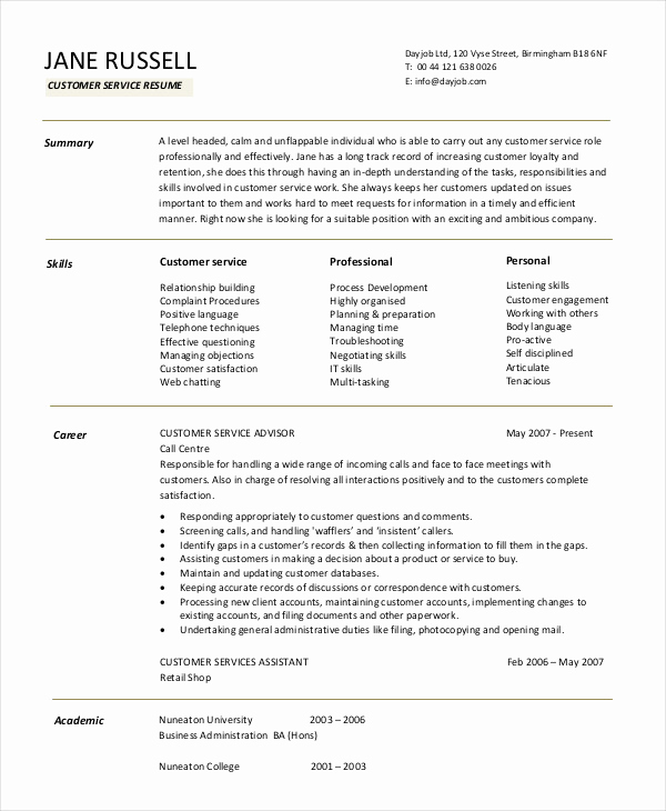 Retail Customer Service Resume Luxury 11 Customer Service Resume Templates Pdf Doc