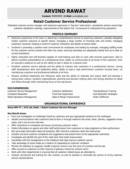 Retail Customer Service Resume New Retail Merchandising Resume Sample & Ready to Use Example
